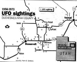 Uinta Basin UFO Sightings Map